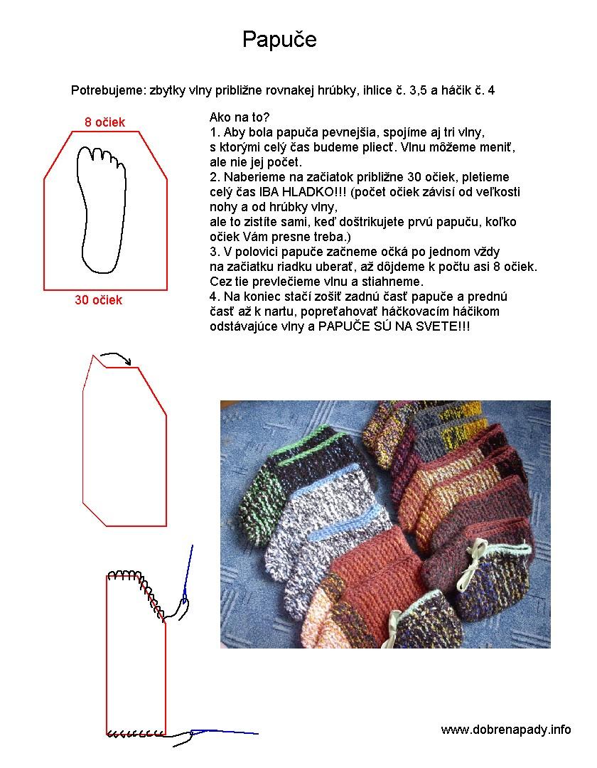 b22e74356 Pletené papuče - Archív Dobré nápady